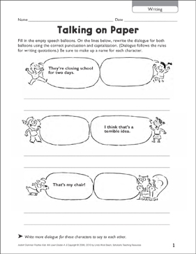 Talking on Paper - Printable Worksheet