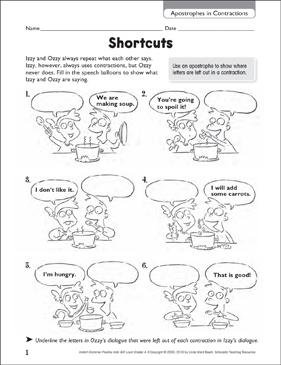 Shortcuts (Apostrophes in Contractions) - Printable Worksheet