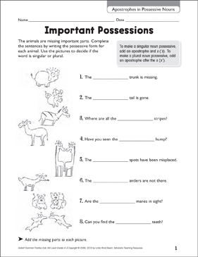 Important Possessions (Apostrophes in Possessive Nouns) - Printable Worksheet