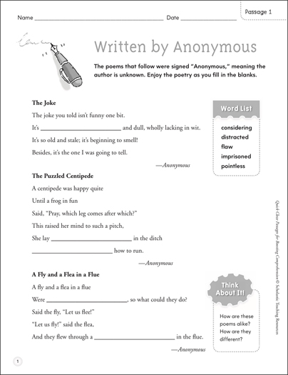 Written by Anonymous: Quick Cloze Passage - Printable Worksheet