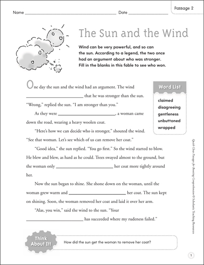 The Sun and the Wind: Quick Cloze Passage - Printable Worksheet