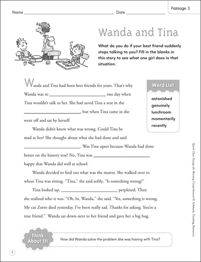 Wanda and Tina: Quick Cloze Passage - Printable Worksheet