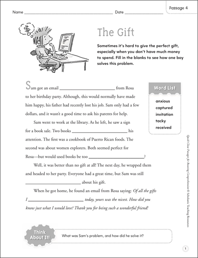 The Gift: Quick Cloze Passage - Printable Worksheet