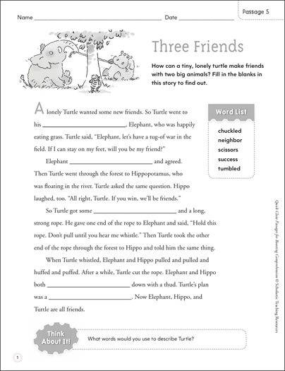 Three Friends: Quick Cloze Passage - Printable Worksheet