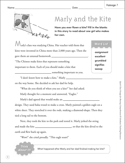 Marly and the Kite: Quick Cloze Passage - Printable Worksheet