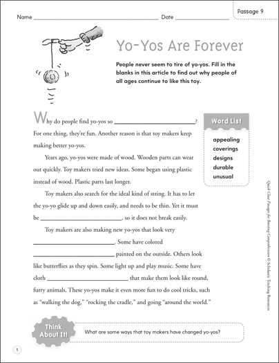 Yo-Yos Are Forever: Quick Cloze Passage - Printable Worksheet