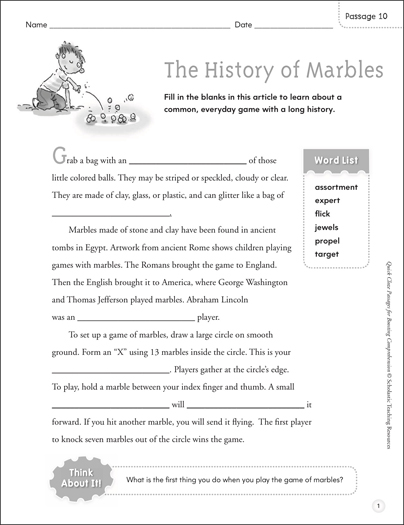 The History of Marbles: Quick Cloze Passage - Printable Worksheet