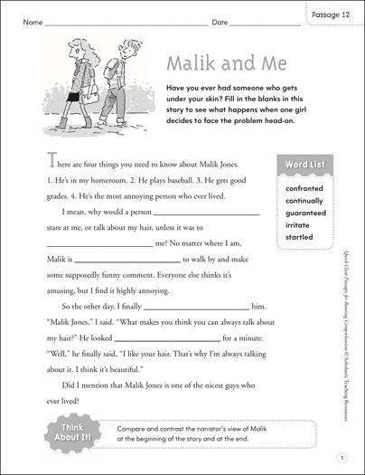 Malik and Me: Quick Cloze Passage - Printable Worksheet
