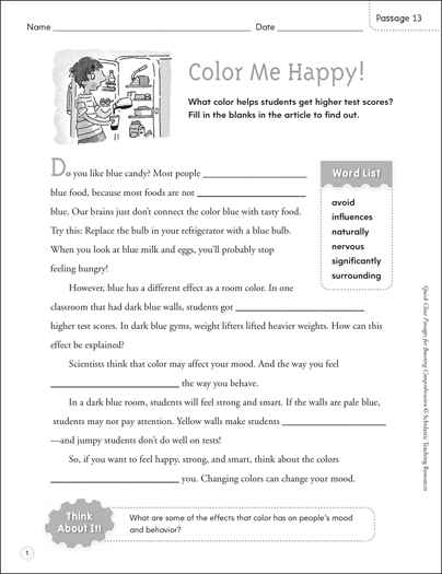 Color Me Happy! Quick Cloze Passage - Printable Worksheet