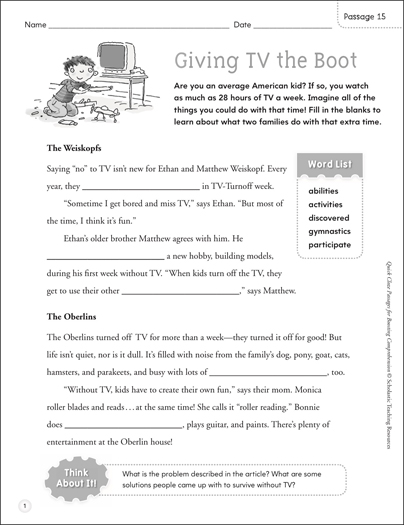Giving TV the Boot: Quick Cloze Passage - Printable Worksheet