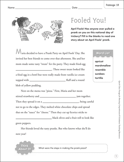 Fooled You! Quick Cloze Passage - Printable Worksheet