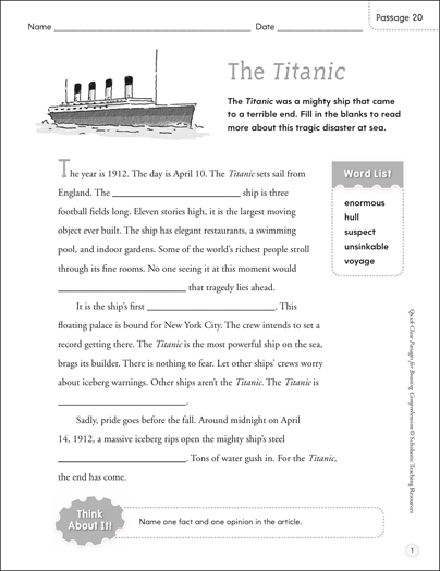 The Titanic: Quick Cloze Passage - Printable Worksheet