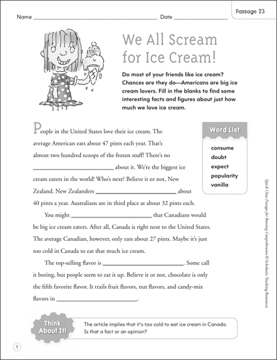 We All Scream for Ice Cream! Quick Cloze Passage - Printable Worksheet