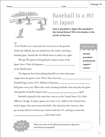 Baseball Is a Hit in Japan: Quick Cloze Passage - Printable Worksheet