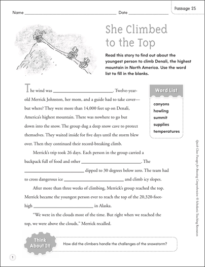 She Climbed to the Top: Quick Cloze Passage - Printable Worksheet