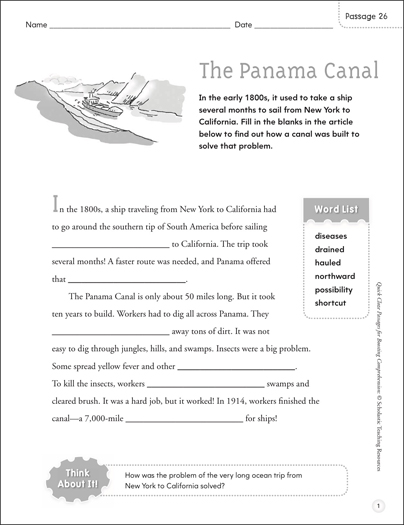 The Panama Canal: Quick Cloze Passage - Printable Worksheet