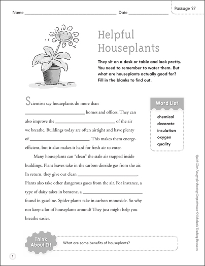 Helpful Houseplants: Quick Cloze Passage - Printable Worksheet