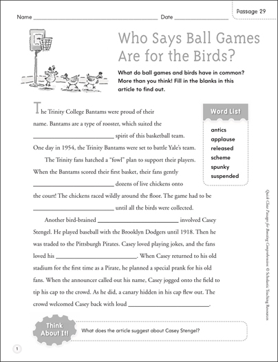 Are Ball Games for the Birds? Quick Cloze Passage - Printable Worksheet
