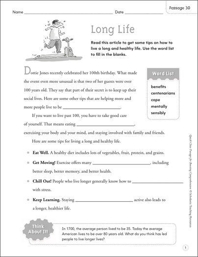 Long Life: Quick Cloze Passage - Printable Worksheet