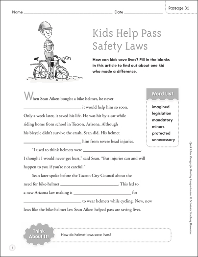 Kids Help Pass Safety Laws: Quick Cloze Passage - Printable Worksheet
