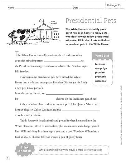 Presidential Pets: Quick Cloze Passage - Printable Worksheet
