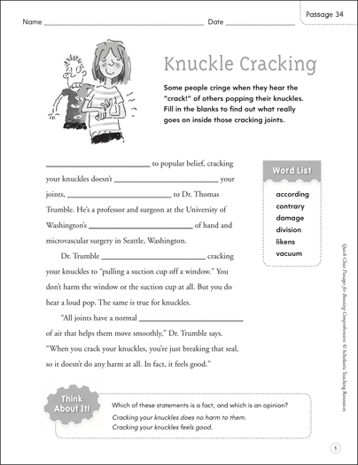 Knuckle Cracking: Quick Cloze Passage - Printable Worksheet
