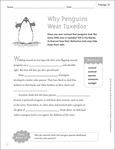 Why Penguins Wear Tuxedos: Quick Cloze Passage - Printable Worksheet