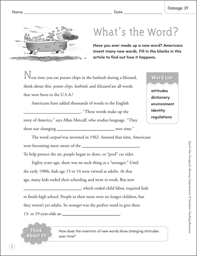 What's the Word?: Quick Cloze Passage - Printable Worksheet