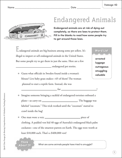 Endangered Animals: Quick Cloze Passage | Printable Lesson Plans
