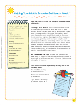 Week 1: Summer Express Between Grades 7 and 8 - Printable Worksheet
