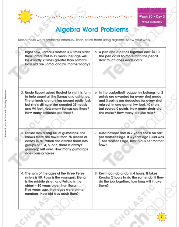 Week 10: Summer Express Between Grades 7 and 8 | Printable Skills Sheets
