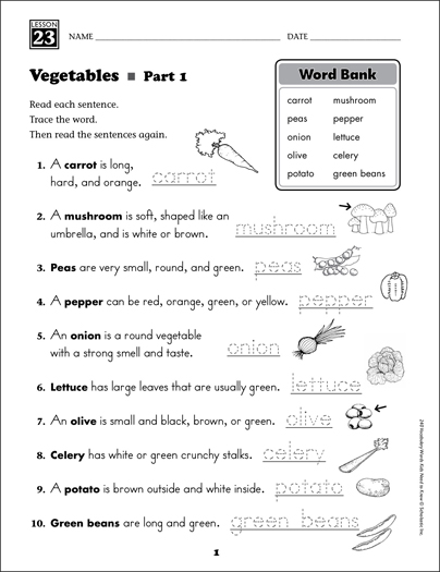 Vegetables (Content Words): Grade 1 Vocabulary - Printable Worksheet