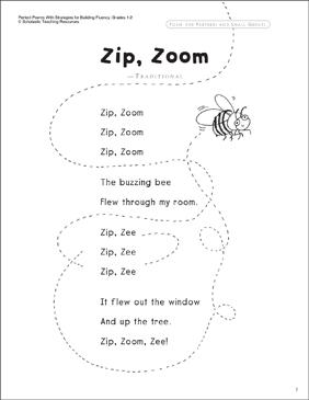 Zip Zoom Read Aloud Poem Printable Texts