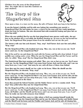 graphic relating to The Gingerbread Man Story Printable called The Tale of the Gingerbread Gentleman and Things to do Printable