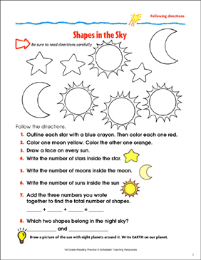 Shapes In The Sky Reading Passage And Activity