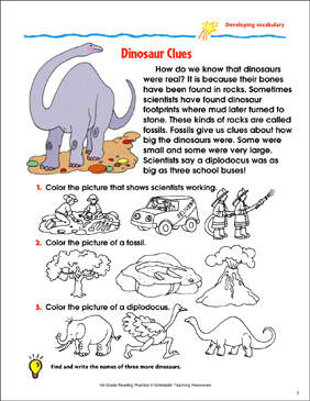 Dinosaur Clues Reading Passage And Activity Developing