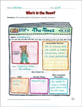 Who's in the News: Reading Response Organizer - Printable Worksheet