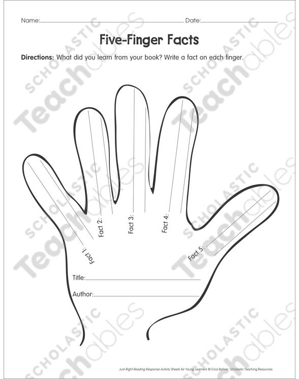 Five Finger Facts Reading Response Organizer Printable