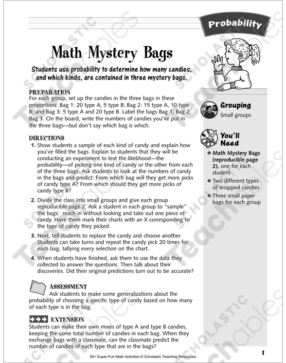 Math Mystery Bags: Probability Activity | Printable Lesson
