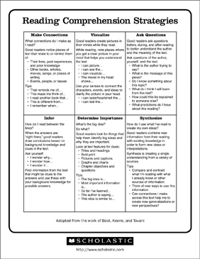 Reading Comprehension Strategies | Printable Lesson Plans and Ideas