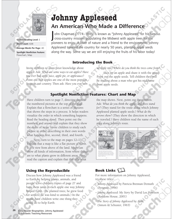 Johnny Appleseed Lesson Plan Activity Page Printable Lesson