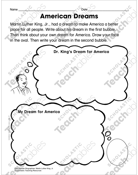 Martin Luther King Jr Lesson Plan Activity Page Printable
