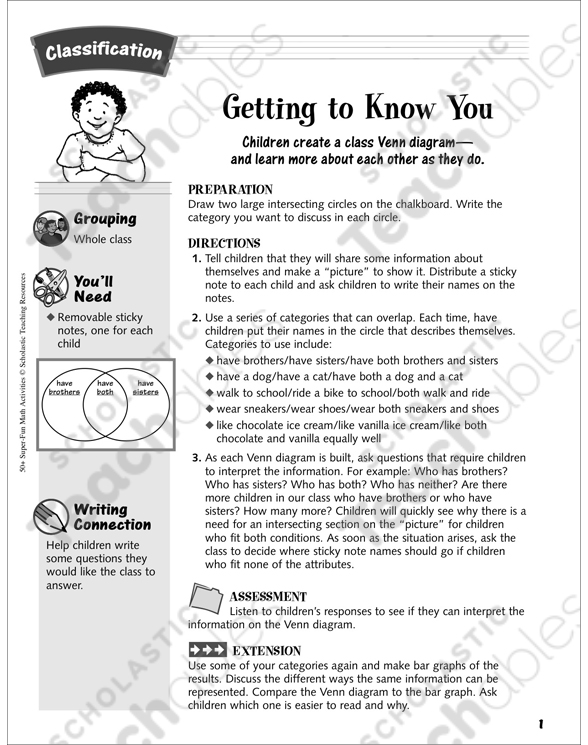 Getting To Know You Venn Diagram Activity Classification Activity