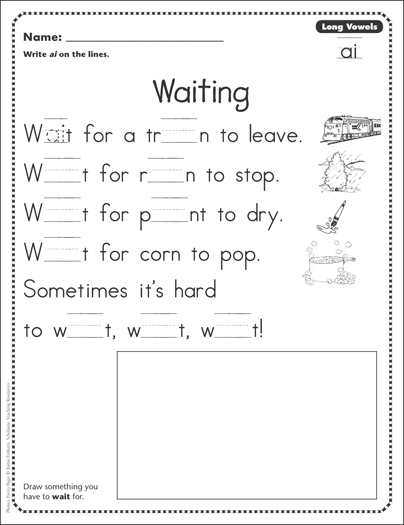 waiting long vowels ai phonics poetry page printable skills sheets. Black Bedroom Furniture Sets. Home Design Ideas