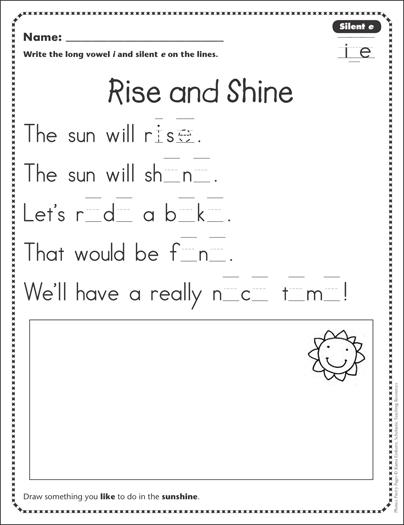 rise and shine silent e i e phonics poetry page printable skills sheets. Black Bedroom Furniture Sets. Home Design Ideas