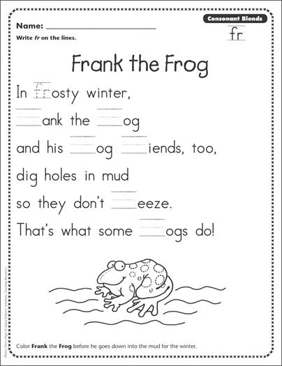 frank the frog consonant blends fr phonics poetry page printable skills sheets. Black Bedroom Furniture Sets. Home Design Ideas