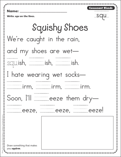 squishy shoes consonant blends squ phonics poetry page printable skills sheets. Black Bedroom Furniture Sets. Home Design Ideas