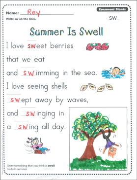 summer is swell consonant blends sw phonics poetry page printable skills sheets. Black Bedroom Furniture Sets. Home Design Ideas