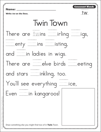 Twin Town (Consonant Blends - tw): Phonics Poetry Page ...