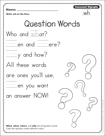 Question Words (Consonant Digraphs - wh): Phonics Poetry Page ...